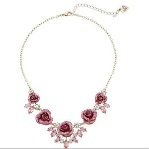 Betsey Johnson Women's Glitter Rose Necklace
